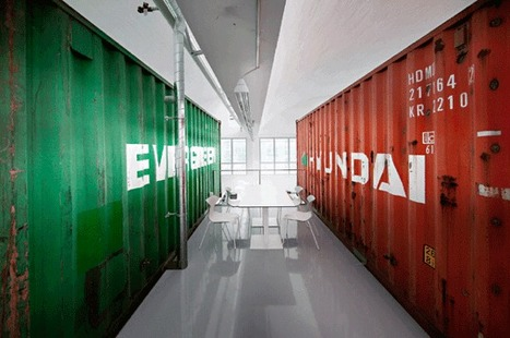 16 Well-Traveled Shipping Containers Add a Pop of Color to Group 8′s ... - Inhabitat | Container houses | Scoop.it