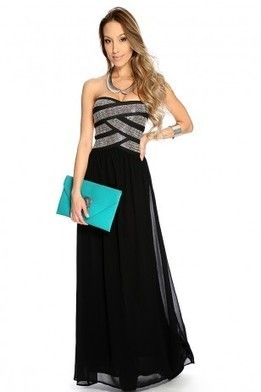 Black Studded Strapless Sexy Maxi Holiday Dress   The Season's Hottest Styles from Pink Basis   Scoop.it