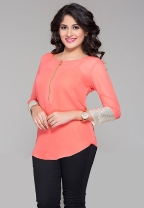 Keep your look lively as you wear this top, in peach colour. This top is designed as per the latest trends and fashioned using quality georgette.  | Buy  Women Shirts‎ on itibeyou.com | Scoop.it