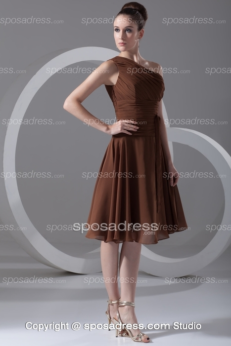 Chocolate One Shoulder Chiffon A-line Knee Length Bridesmaid Dress - Sposadress.com | Fashion Dresses Online | Scoop.it