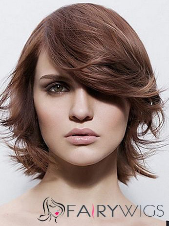 Pretty Capless Short Wavy Brown Remy Hair Wig : fairywigs.com | Human Hair Wigs | Scoop.it