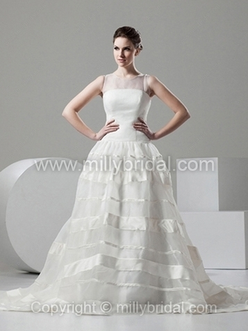 Princess Scoop Organza Chapel Train Draped Wedding Dresses - www.millybridal.com | wedding and event | Scoop.it
