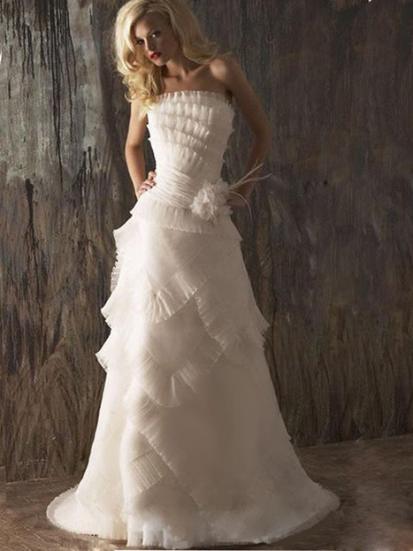 Sheath/Column Strapless Ruffles Organza Sweep Train Wedding Dress at Millybridal.com | wedding and event | Scoop.it