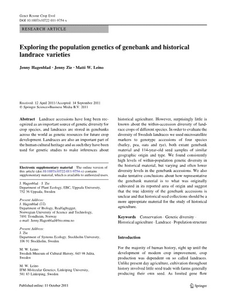 Exploring the population genetics of genebank and historical landrace varieties | Agricultural Biodiversity | Scoop.it