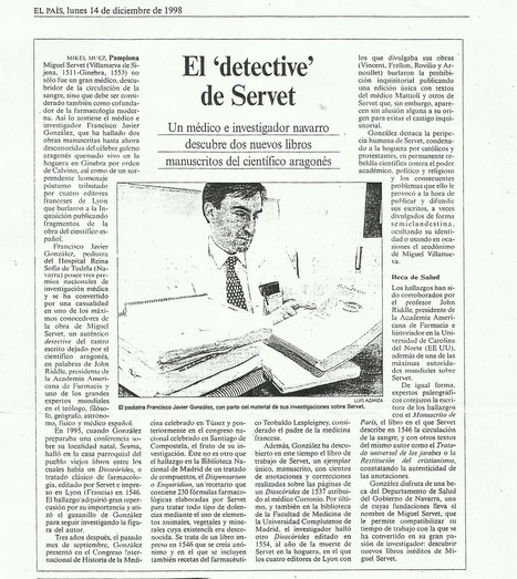"14-12-1998 National Diary  El Pais : ""The Detective of Servetus"", on González Echeverría's research 