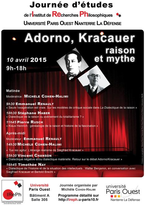 """IREPH - Journée d'études """"Adorno, Kracauer : raison et mythe""""   dialectique   Scoop.it"""