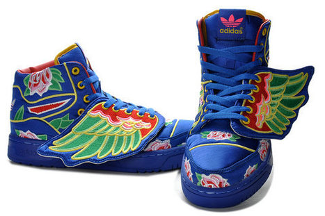 Blue Adidas Embroidery Sneakers New 2013 Jeremy Scott JS Wings [adidas-0005] - $125.13 : Adidas Glow In the Dark Shoes, Nike Dunks Glow In the Dark Sneakers | the ingredients of style | Scoop.it
