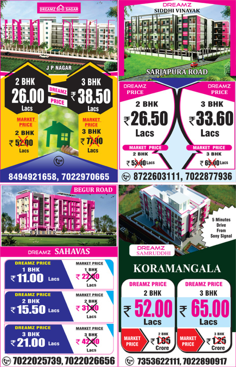Dreamz Infra has lucrative offers at Koramangala, Sarjapur Road, Begur Road and J.P. Nagar | Any Complaints, reviews, Fraud about dreamz infra | Scoop.it