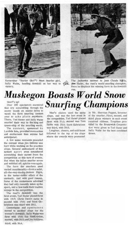 Muskegon Area Sports Hall of Fame - History of the Snurfer, Snurfing and the sport of Snowboarding - 1968 | Lake Effect.... Winter Style | Scoop.it