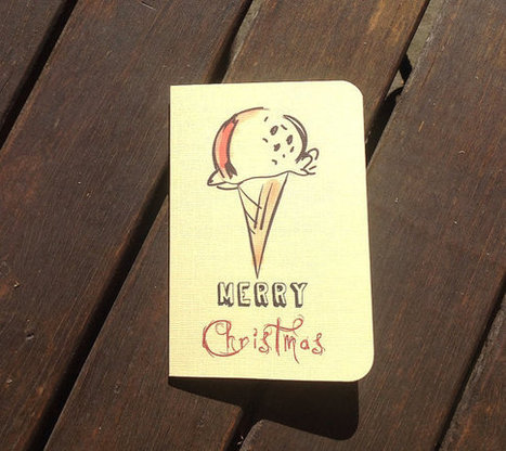 Merry Christmas Ice Cream Illustrated Greeting Card with Inside Message + Envelope | ice cream,  love, sweet | Sell Handmade Online | Scoop.it