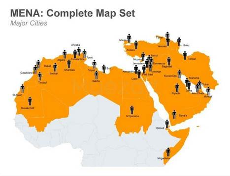 MENA Map - Complete Set - Fully Editabe PowerPoint Template | Social Media and Network Analysis | Scoop.it