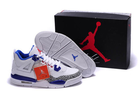 Cement/White/Royal Blue-Nike Air Jordan 4 Retro-Men's-Shoes-Sneakers | my style | Scoop.it