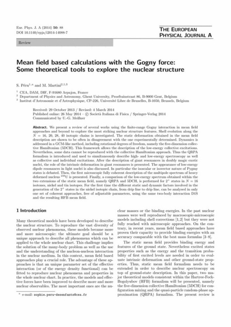 Mean field based calculations with the Gogny force: Some theoretical tools to explore the nuclear structure - Springer | Nuclear Physics | Scoop.it
