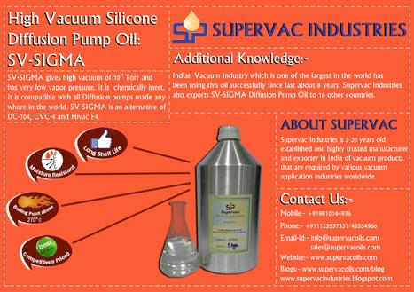 High Vacuum Silicone Diffusion Pump Oil SV-SIGMA   Supervac Industries   Scoop.it