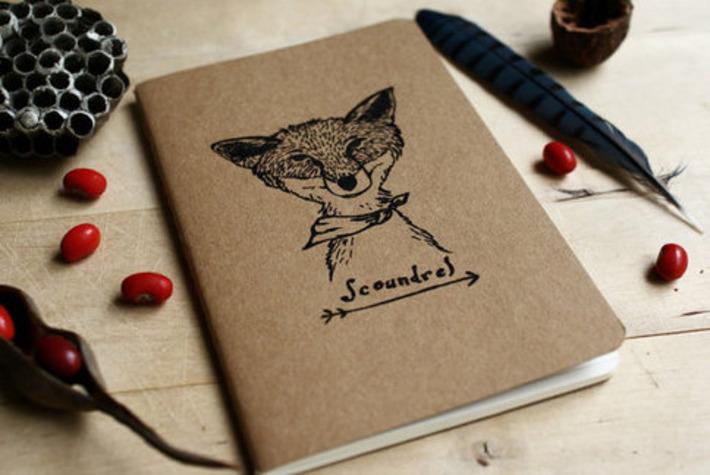 Scoundrel Fox Brown Lined Pocket Size Moleskine Notebook Journal Gocco Screenprint | Walking On Sunshine | Scoop.it