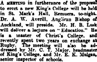 Papers Past — New Zealand Herald — 14 June 1918 — NEW KING'S COLLEGE. | King's College, Auckland, New Zealand | Scoop.it