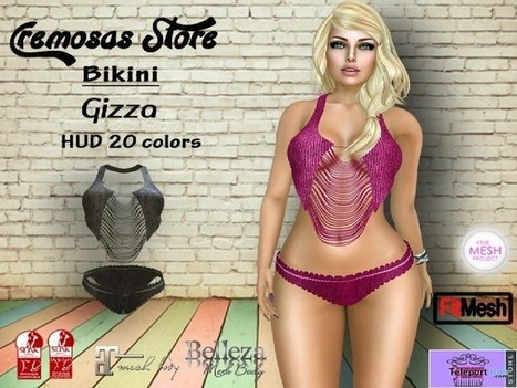 Gizza Bikini with 20 Colors HUD Group Gift by Cremosas Fashion | Teleport Hub - Second Life Freebies | Second Life Freebies | Scoop.it