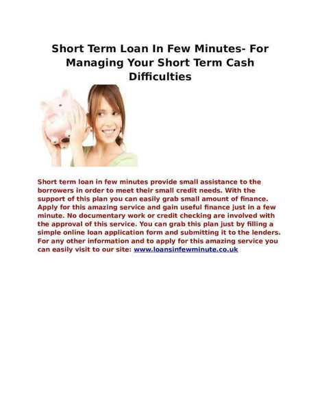 For Managing Your Short Term Cash Difficulties | Loans In Few Minute | Scoop.it