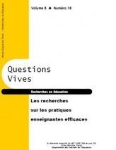 Les recherches sur les pratiques enseignantes efficaces - Questions vives, revue d'éducation   Enseigner l'Histoire-Géographie   Scoop.it