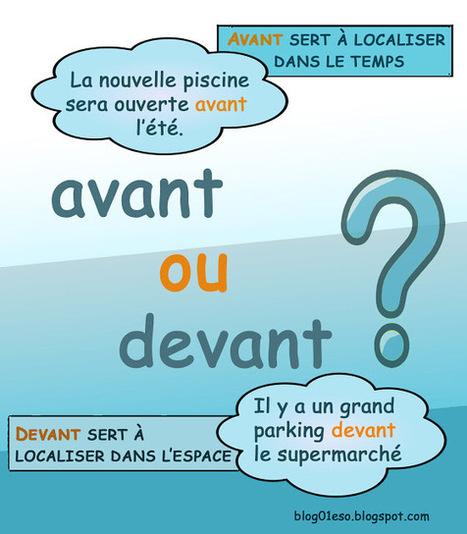 Français langue étrangère: PRÉPOSITIONS: AVANT/DEVANT | En français, au jour le jour | Scoop.it