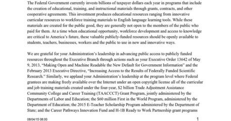 White House OER Letter (Final) | OER & Open Education News | Scoop.it