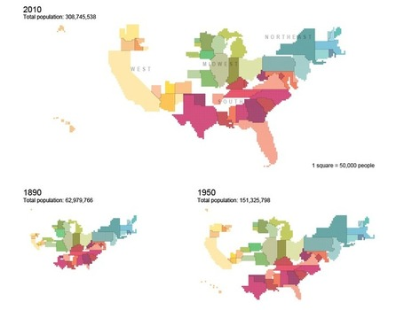 Cartograms of State Populations in 1890, 1950, and 2010 | Hum Geo | Scoop.it