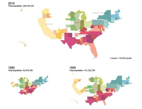 Cartograms of State Populations in 1890, 1950, and 2010   Regional Geography   Scoop.it