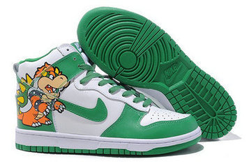 Super Mario Nikes Bowser Nike Dunk Hitop Bowser king koopa nike dunks high tops shoes | Hello Kitty Nike Dunks | Scoop.it