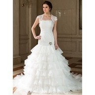[€ 195.41] A-Lijn/Prinses Strapless Kapel Train Organza Bruidsjurk met Kraalwerk Ruches Plooirok (002001308) | fashion dress | Scoop.it