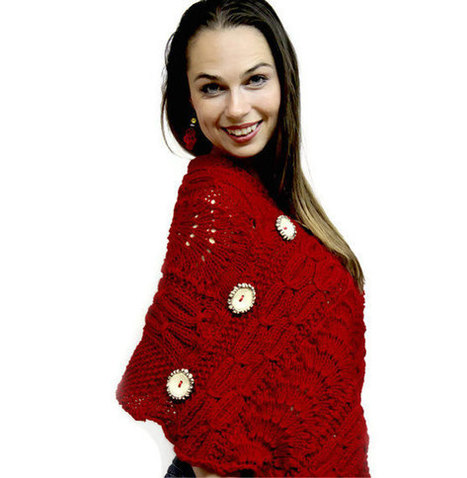 Red Elegant Poncho Shawl MONTMARTRE WALK  - Sophisticated Cabled Shawl/ Hand Knit poncho/ autumn/ fall/ winter by Solandia | Adventures with Hand Knits | Scoop.it