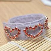 Learn to Make an Adjustable Felt Heart Cuff Bracelet with Red Rhinestones | bracelets | Scoop.it