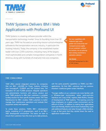 Case Study | TMW Systems Delivers IBM i Web Applications with Profound UI | Legacy Application Management | Scoop.it