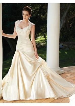 Trumpet Mermaid Square Chapel Train Taffeta Wedding Dress With Pick Ups Adwst0070 - Trumpet/Mermaid Wedding Dresses - Wedding Dresses | mode | Scoop.it