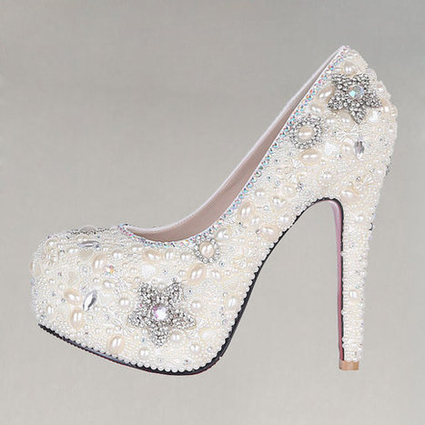 2013 style As picture color  Wedding shoes bridal crystals heels  Pearl diamond bright heels brilliant  bridal shoes | Fashion | Scoop.it