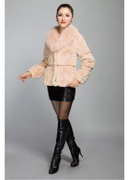 Women's Furs :: Fur Jackets :: Rabbit :: Full Skin Rex Rabbit Fur Jacket with Fox Fur Shawl Collar - | furs | Scoop.it