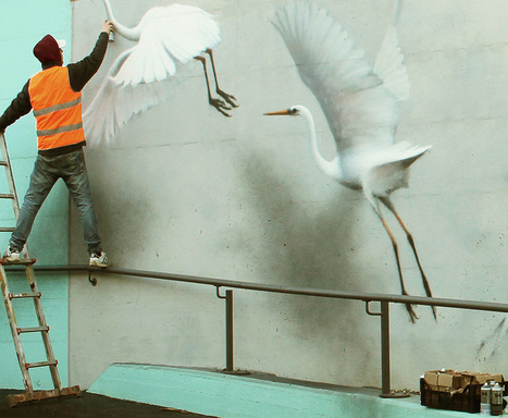 Ethereal #Bird #Murals on the Streets of Riccione by 'Eron' #art #streetart #publicart | Luby Art | Scoop.it