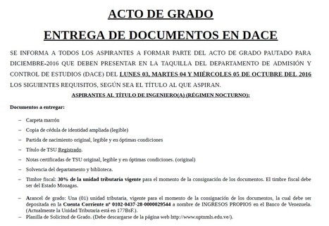 "DOCUMENTOS ACTO DE GRADO | Noticias UPTNM ""Ludovico Silva"" 