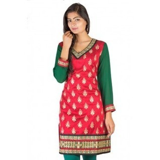 Red Pure Raw Silk Kurti With Green Georgette Sleeves And Zari Work In Front ! Designer Kurtis | Nice one | Scoop.it