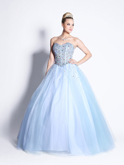 Ball Gown Sweetheart Tulle,Satin Floor-length Sleeveless Crystal Detailing Quinceanera Dresses at pickedlooks.com | Quinceanera Dresses 2014 | Scoop.it