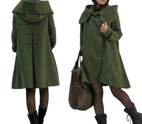 Green cloak wool coat Hooded Cape women Winter wool coat | women's fashion | Scoop.it
