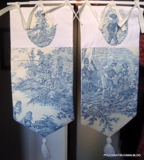 2 rideaux brise bise toile de jouy bleu d eacu. Black Bedroom Furniture Sets. Home Design Ideas