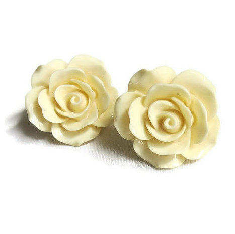 Vintage Nolan Miller Ivory Colored Molded Rose Flower Pierced Earrings | Vintage Jewelry and Fashions | Scoop.it