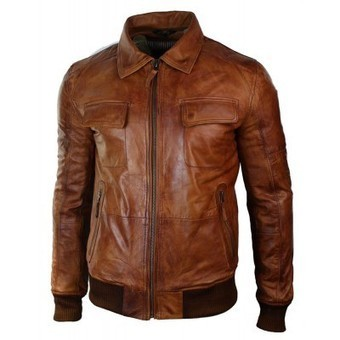 Mens Washed Rust Tan Brown Removable Fur Collar Pilot Leather Jacket Slim Fit | Mens clothing | Scoop.it