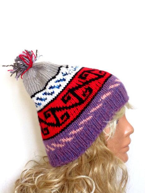 Hand Knit Hat- Womens Tribal hat - Winter hat - Womens Beanie - Winter Women Hat - Slightly Slouchy Hat - Multi-color  Hat, slouch | women fashion | Scoop.it