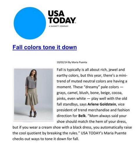 Fall colors tone it down | USA Today | Marie Puente | Belk  Fashion - with Arlene Goldstein, Belk Vice President of Trend Merchandising and Fashion Direction | Scoop.it