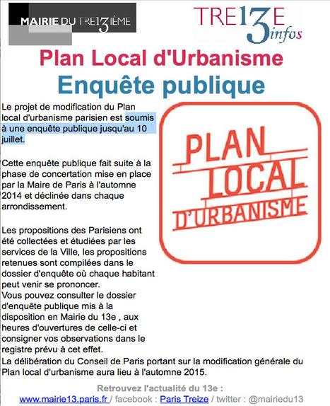 PARIS XIIIème: Plan Local d'Urbanisme ENQUÊTE publique... jusqu'au 10 juillet | URBANmedias | Scoop.it