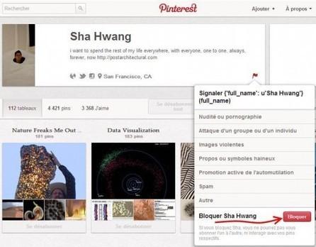 Blocage d'un utilisateur sur Pinterest | Ballajack | Social Media & Community Management | Scoop.it