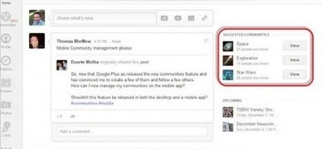 Google actualiza las comunidades de Google Plus para ofrecer sugerencias personalizadas.-   Google+, Pinterest, Facebook, Twitter y mas ;)   Scoop.it