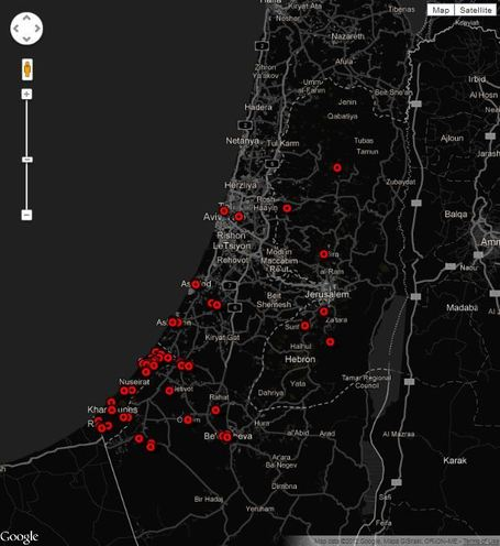Gaza-Israel crisis 2012: every verified incident mapped | geoinformação | Scoop.it
