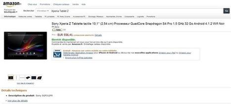 La Sony Xperia Tablet Z de 32 Go est en précommande en France | Geeks | Scoop.it
